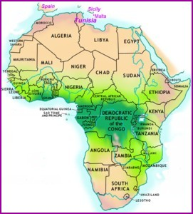 A map of Africa showing Tunisia at the top and South Africa at the bottom